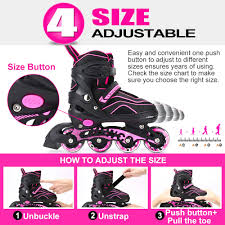 Otw Cool Adjustable Inline Skates For Kids And Adults Outdoor Blades Roller Skates With Full Light Up Led Wheels Safe And Durable Inline Roller