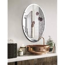 frameless oval bathroom wall mirror