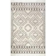nuloom vasiliki moroccan tribal tassel off white 5 ft x 8 ft area