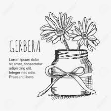 ベクター クリップアート ガーベラの花の花瓶線画モノクロ イメージ