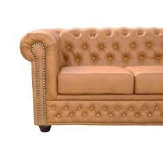 Details Zu Chesterfield Ecksofa Bett Tisch 3 Sitzer Hocker Cognac Braun Lederlook