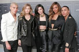 h m balmain s olivier rousteing right with fs including kendall jenner