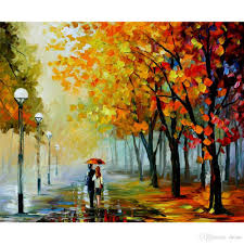 leonid afremov artwork oil painting on canvas fall drizzle abstract art landscape handmade wall decor oil painting handmade living room decor with