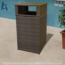 customized resin wicker patio trash can
