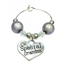 special grandma wine glass charm with gift card