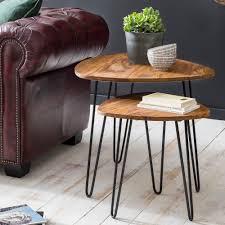Wohnling 2er Set Beistelltisch Sheesham Holz Metall Wohnzimmer Tisch