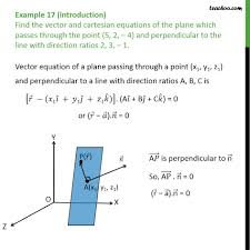example 17 find vector cartesian equations of plane passing equation of plane prependicular