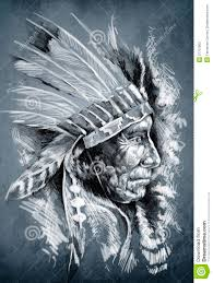 Sketch Of Tattoo Art Native American Indian Stock Illustration