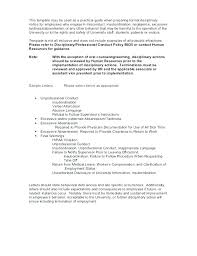 Employee Write Up Policy Employee Conduct Policy Template Second Disciplinary Warning
