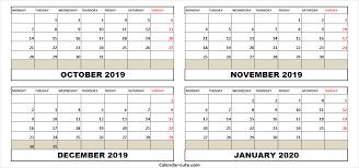 Blank Dec 2020 Calendar Printable October 2019 January 2020 Calendar Cute Calendar