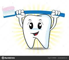 Dent De Dessin Anim Mignon Soulevant Une Brosse Dents Image