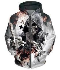 <b>NEW</b> Fashion <b>3D</b> Unisex Diamonds <b>Skull poker</b> Print Zip-up Hoodie ...