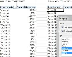 excel grouping 1 pivot table groups
