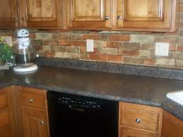Faux Stone Kitchen Backsplash Rectangle Brown Stone Brick Combined With Black Wooden Cabinet