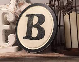 8 round letter b sign monogram initial wall art home decor rustic letters all letters available inc ampersand on wall art letter b with letter b wall art etsy