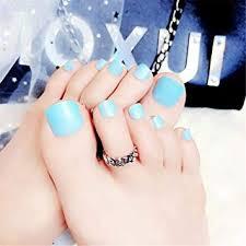 Toe Nail Art Tip Glue Artificial False Toenails Perfect Length Pure Color Full Cover Beauty Art Decoration