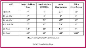 Leg Warmer Sizing Chart