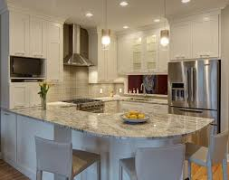 small white kitchens with white appliances. Interesting Kitchens Bright Kitchen Design Features Lshaped Countertop Wrapping The Space With  Curved Bar Style Inside Small White Kitchens With Appliances