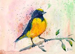yellow bird watercolor painting by adrianoceliento