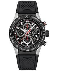 tag heuer watches macy s tag heuer men s swiss automatic chronograph carrera calibre heuer 01 black rubber strap watch 45mm car2a1z