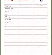 emergency contact template contact list template