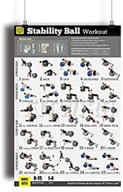 Total Body Gym Workout Chart Exercise Ball Workout Poster Now Laminated Total Body Core Fitness Workout Stability Ball Exercises Build Strength Muscles Home Gym Fitness