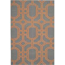 safavieh dhurrie caleb hand woven wool orange grey area rug 121 x 182 cm