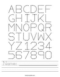 abc tracing sheet name worksheet twisty noodle