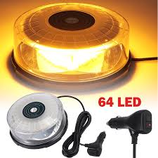 Strobe Light Cake Amber 64 Led Beacon Flashing Magnetic Emergency