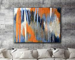 blue and orange abstract wall art