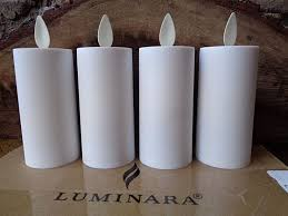 luminara classic votive white unscented 4 pack open box