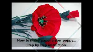 Make A Paper Poppy Flower How To Make Paper Crepe Poppy Step By Step Diy