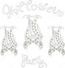Belettering Halloween Party Floral Vleermuizen Kleurplaten Pagina