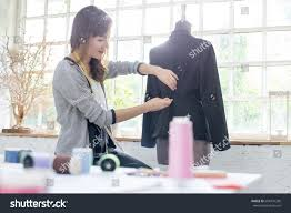 Fashion Designer Part Time Job Young Asian Designer Sewing Her Design Stock Photo Edit Now