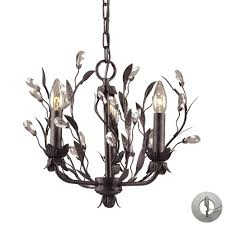 circeo 3 light chandelier in deep rust and crystal droplets includes recessed lighting kit