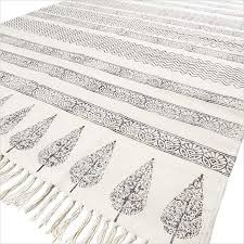 black off white flat weave woven cotton block print area accent dhurrie boho rug 4 x 6 ft