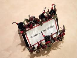 unique business card holder desk handmade beaded business card holder desk accessory office gift red black