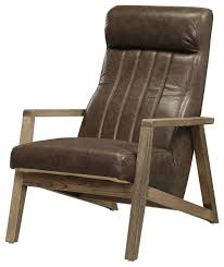 accent chair in distressed chocolate top grain leather wood ash wood foam midcentury armchairs and accent chairs by virventures