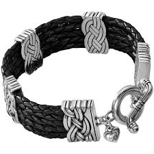 interlok multi row leather bracelet alternate view 1