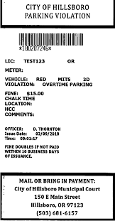 Parking Tickets City Of Hillsboro Or