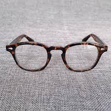 إطار نظارة على طراز جوني ديب كلاسيكي للرجال والنساء تصميم كلاسيكي بعدسات  شفافة نظارة حفلات بإطار بصري