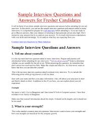 Sample Interview Questions And Answers For Fresher Candidates By