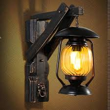 lantern wall lights creative vintage iron wood lantern led outdoor wall lamp loft country wall light lantern wall lights