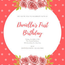 1st Birthday Party Invitation Template Pink Floral 1st Birthday Party Invitation Templates By Canva