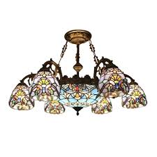 victorian design inverted colorful glass m s light chandelier 2 sizes available
