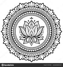 Kruhové Pole Formě Mandaly Lotus Pro Henna Mehndi Tetování Zdobení