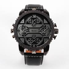 online buy whole mens big face watches from mens big oulm mens big face watches 4 time zone leather band casual quartz movement wrist watch