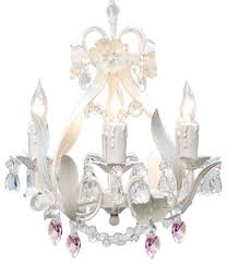 white iron crystal chandelier with pink crystal hearts