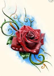 эскиз тату фото роза с узорами из веточек татуировки и эскизы розы