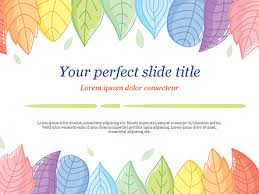 Cute Colored Leaves Powerpoint Template Backgrounds 15307